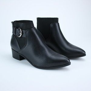 NEW Black Booties Buckle Style Pointed Faux Le…